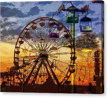 Canvas Print featuring the digital art Ferris At Dusk by David Lee Thompson