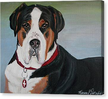 Ferris The Greater Swiss Mountain Dog Canvas Print by Karen Dortschy