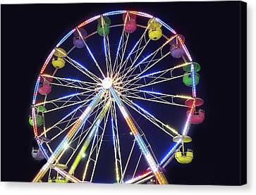 Rainbow Canvas Print - Ferris Wheel At Night by Art Spectrum