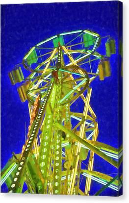 Ferris Wheel At Night Canvas Print by Dan Sproul
