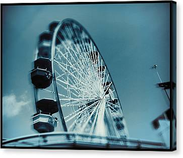 Canvas Print featuring the photograph Blue Ferris Wheel by Douglas MooreZart