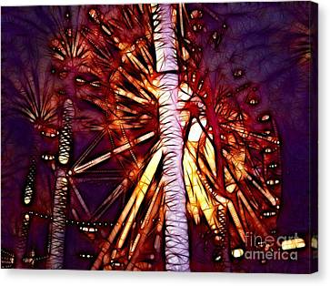 Canvas Print featuring the photograph Ferris Wheel  by Mariola Bitner