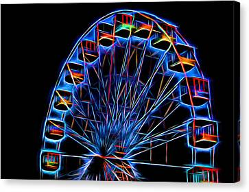Ferris Wheel Neon Canvas Print by Terry DeLuco