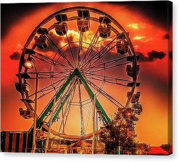 Canvas Print featuring the photograph Ferris Wheel Sunrise by Steve Benefiel