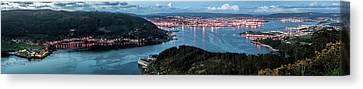 Ferrol's Estuary Panorama From La Bailadora Galicia Spain Canvas Print