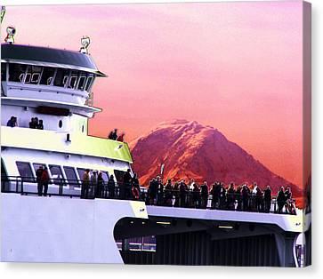 Ferry And Da Mountain Canvas Print by Tim Allen