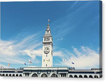 Canvas Print featuring the photograph Ferry Building San Francisco 1915 - California Photography by Melanie Alexandra Price