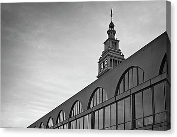 Canvas Print featuring the photograph Ferry Building San Francisco I Bw by David Gordon