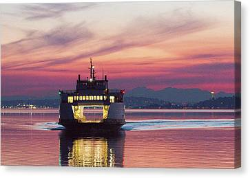 Ferry Issaquah Docking At Dawn Canvas Print by E Faithe Lester
