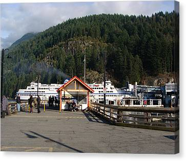 Canvas Print featuring the painting Ferry Landed At Horseshoe Bay by Rod Jellison