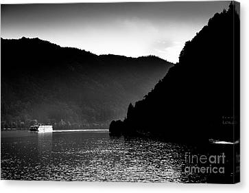 Ferry On The Danube At The Schloegener Loop, Austria Canvas Print by Lance Bellers