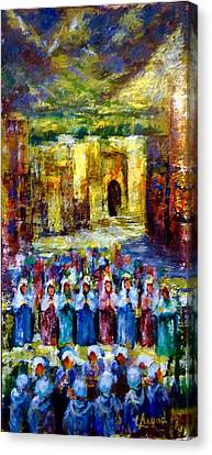 Canvas Print featuring the painting Festival In The Village . by Laila Awad Jamaleldin
