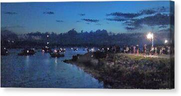 Canvas Print featuring the photograph Festival Night Land And Shore by Felipe Adan Lerma