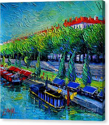 Festive Barges On The Rhone River Canvas Print by Mona Edulesco