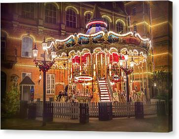Streetlight Canvas Print - Festive Carousel Tivoli Gardens Copenhagen  by Carol Japp