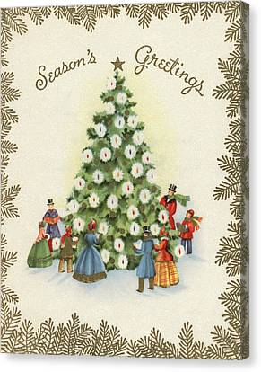 Festive Christmas Tree In A Town Square Canvas Print by American School