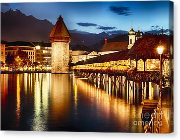 Festive Covered Footbridge  Canvas Print by George Oze