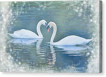 Festive Swan Love Canvas Print