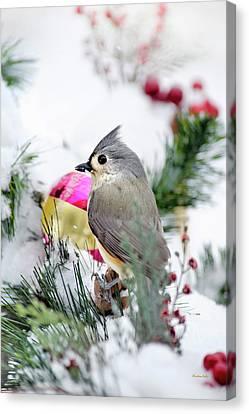 Festive Titmouse Bird Canvas Print