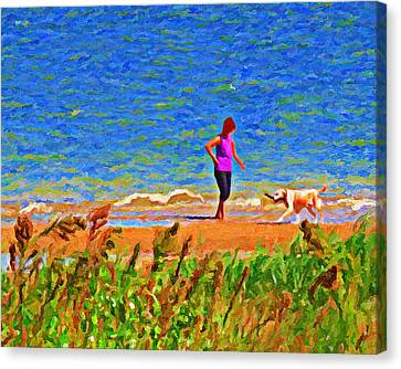 Playing Fetch With Dog Along The Shoreline Canvas Print