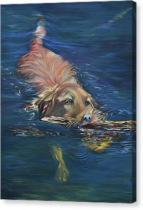 Fetching The Stick Canvas Print