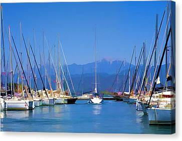 Canvas Print featuring the digital art Fethiye Harbour by Rob Tullis