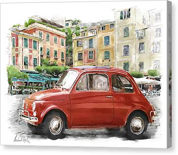 Portofino Cafe Canvas Print - Fiat 500 Classico by Michael Doyle