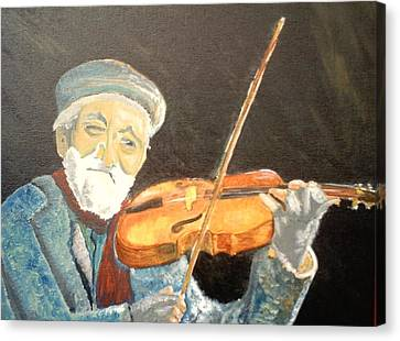 Fiddler Blue Canvas Print by J Bauer