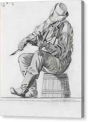 Fiddler Canvas Print by George Caleb Bingham