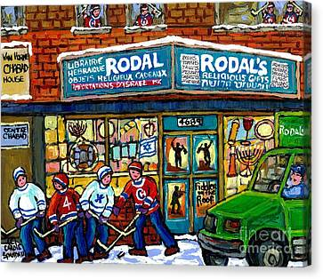 Fiddler On The Roof Painting Canadian Art Jewish Montreal Memories Rodal Gift Shop Van Horne Hockey  Canvas Print by Carole Spandau