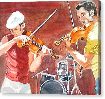 Canvas Print featuring the painting Fiddles by Karen Ilari