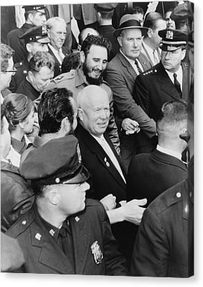 Fidel Castro And Nikita Khrushchev Canvas Print