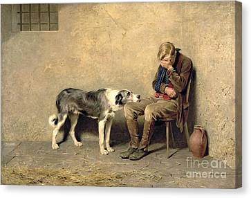 Oil On Canvas Print - Fidelity by Briton Riviere