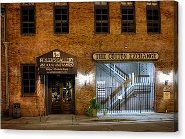 Fidlers Gallery And The Cotton Exchange Canvas Print by Greg Mimbs