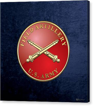 Field Artillery - Fa Branch Insignia Over Blue Velvet Canvas Print by Serge Averbukh
