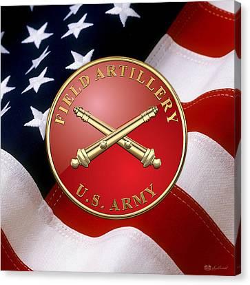 Field Artillery - Fa Branch Insignia Over U. S. Flag Canvas Print by Serge Averbukh