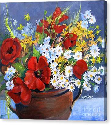 Canvas Print featuring the painting Field Bouquet by Marta Styk