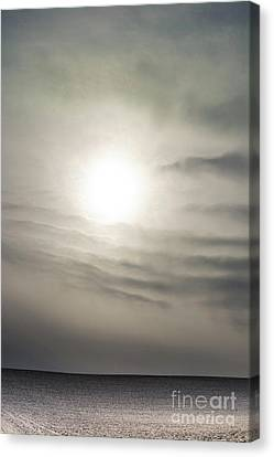 Field Covered With Snow. Auvergne. France. Europe. Canvas Print by Bernard Jaubert