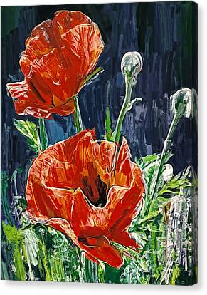 Field Flowers Red Canvas Print by Yury Malkov