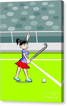 Player Canvas Print - Field Hockey Player Girl With Hand Raised by Daniel Ghioldi