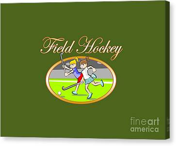 Player Canvas Print - Field Hockey Text In Gold Letters With Illustration Inside An Oval by Daniel Ghioldi