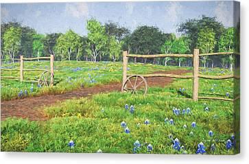 Canvas Print featuring the digital art Field Of Bluebonnets by Jayne Wilson