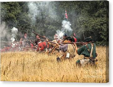 Field Of Fire French And Indian War Battle Canvas Print by Randy Steele