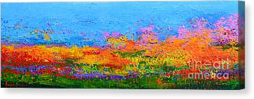 Abstract Field Of Wildflowers, Modern Art Palette Knife Canvas Print