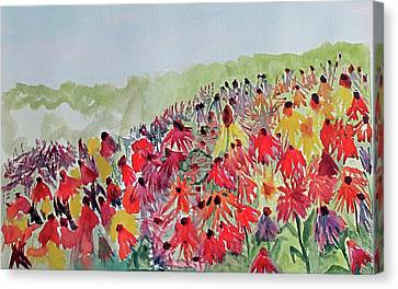 Canvas Print featuring the painting Field Of Flowers by Sandy McIntire