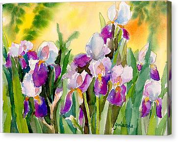 Canvas Print featuring the painting Field Of Irises by Yolanda Koh