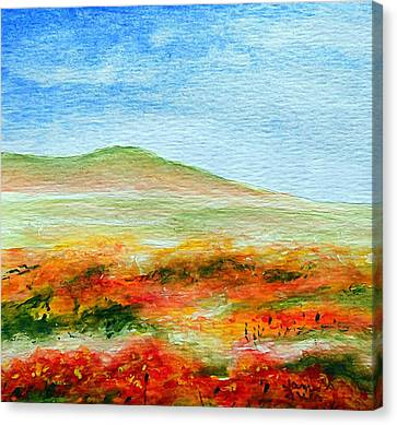 Canvas Print featuring the painting Field Of Poppies by Jamie Frier