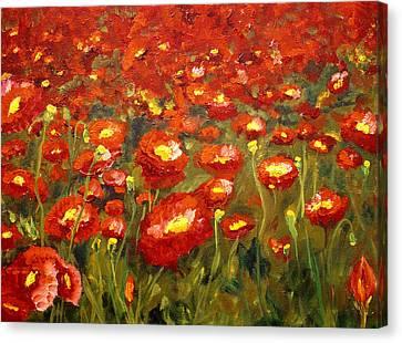 Field Of Poppies Canvas Print by Mary Jo Zorad