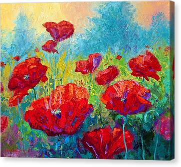Field Of Red Poppies Canvas Print by Marion Rose