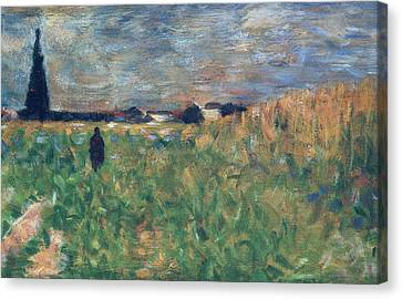 Fields In Summer Canvas Print by Georges Pierre Seurat